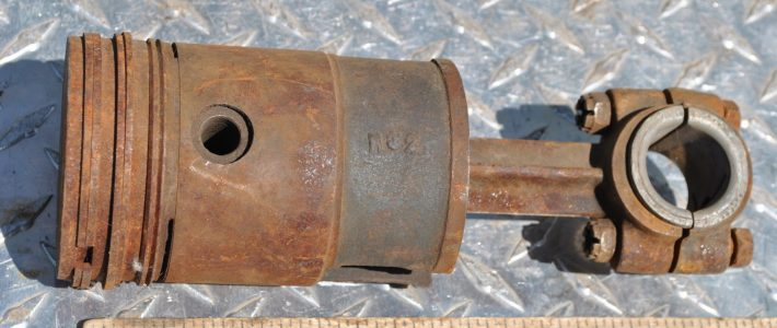 Antique Engine Cast Iron Piston & Rod